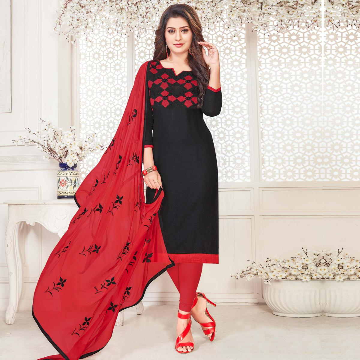 Groovy Black Colored Casual Wear Embroidered Cotton Salwar Suit