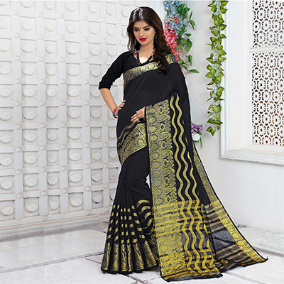 Black Chadneri Silk Weaved Saree