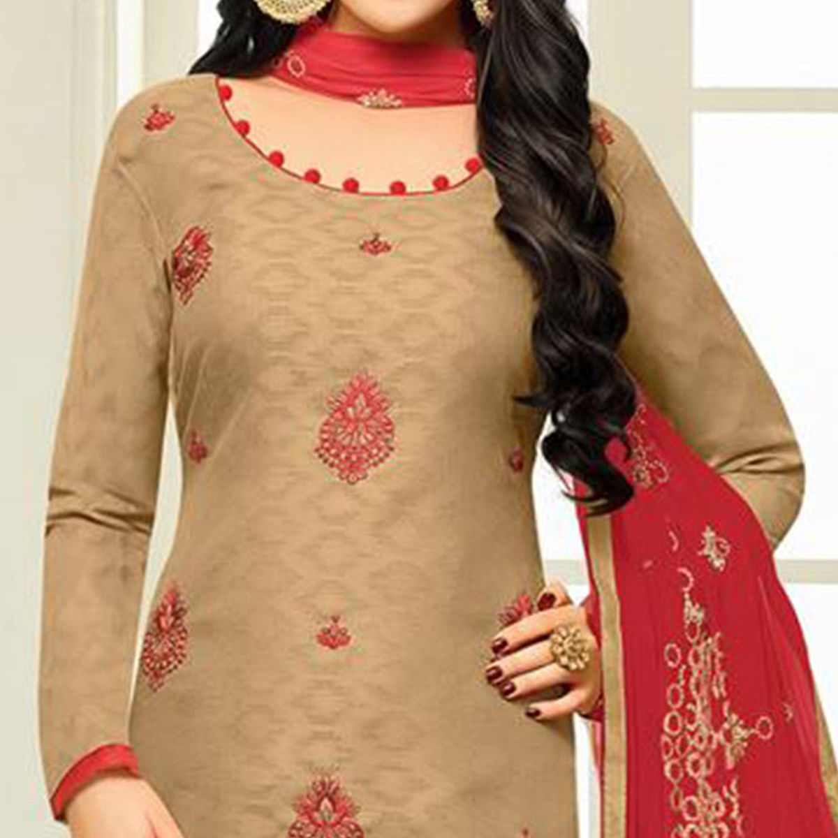 Beautiful Beige Designer Embroidered Partywear Jacquard Salwar Suit