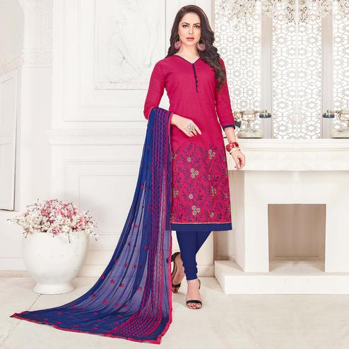 Captivating Deep Pink Colored Casual Wear Embroidered Cotton Salwar Suit