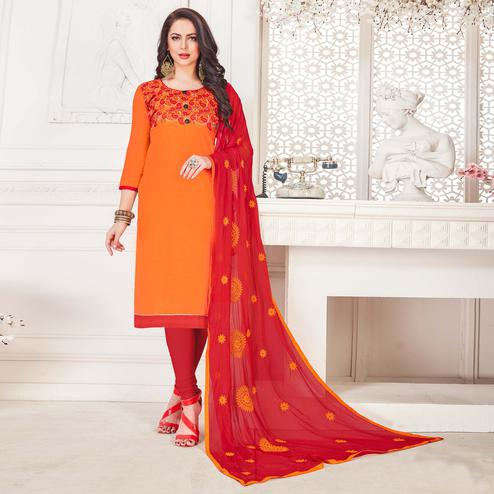 Prominent Orange Colored Casual Wear Embroidered Cotton Salwar Suit