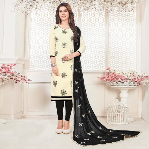 Innovative Cream Colored Casual Wear Embroidered Cotton Salwar Suit