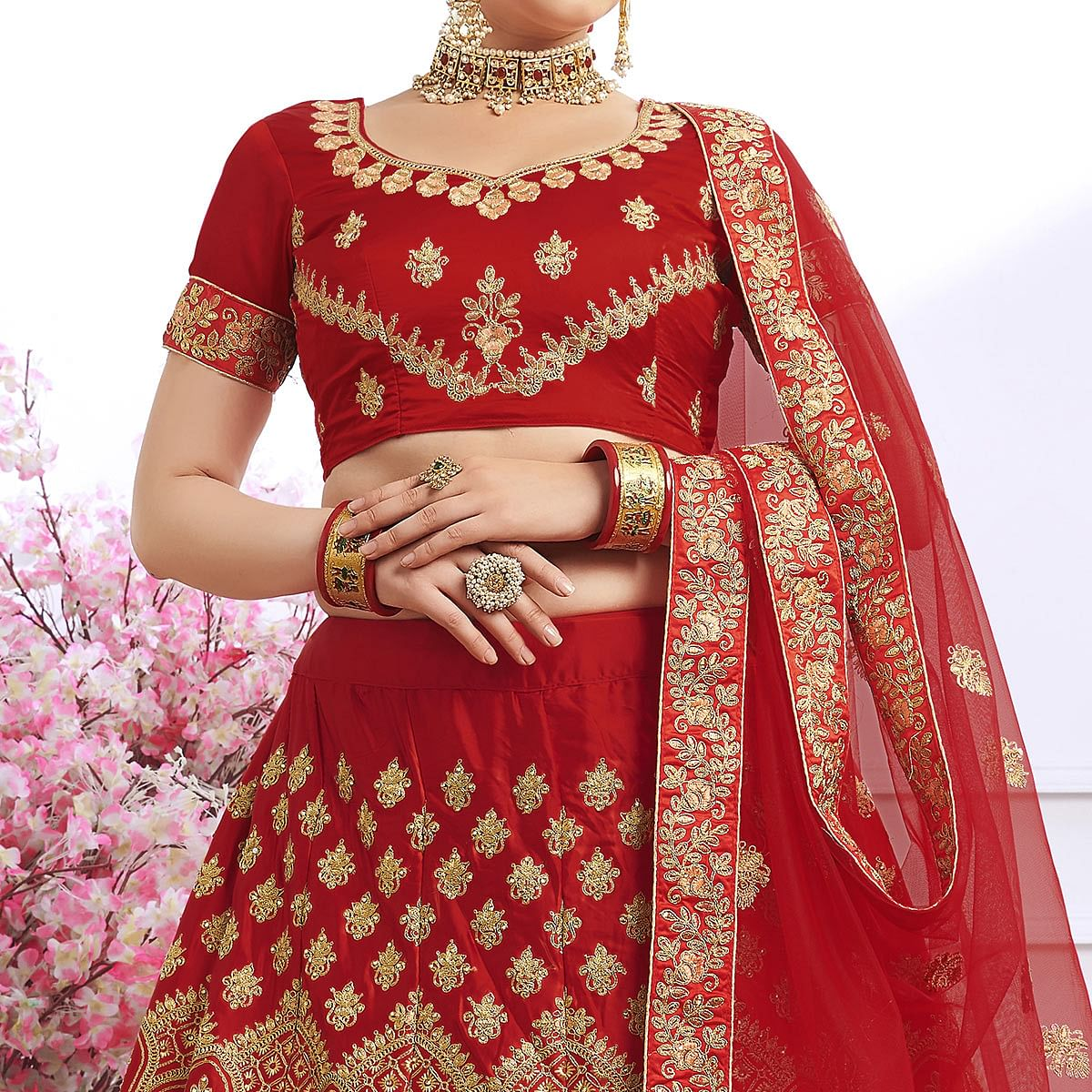 Adorning Red Colored Partywear Embroidered Silk Lehenga Choli
