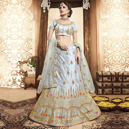 Flattering Grey Colored Wedding Wear Embroidered Silk Lehenga Choli