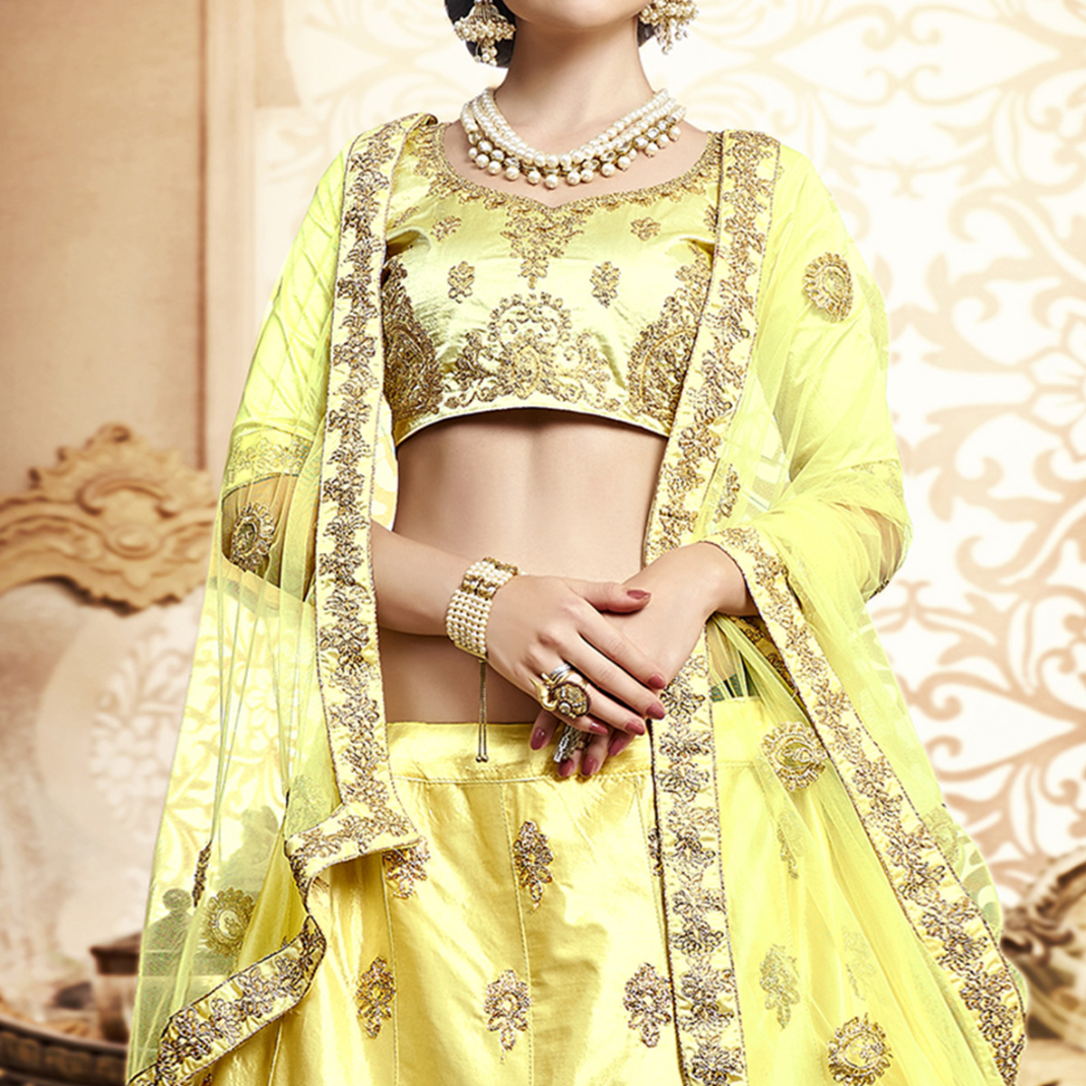 Glowing Lemon Yellow Colored Wedding Wear Embroidered Silk Lehenga Choli