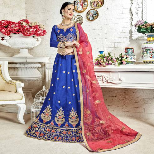 Starring Blue Colored Partywear Embroidered Banglori Silk Lehenga Choli