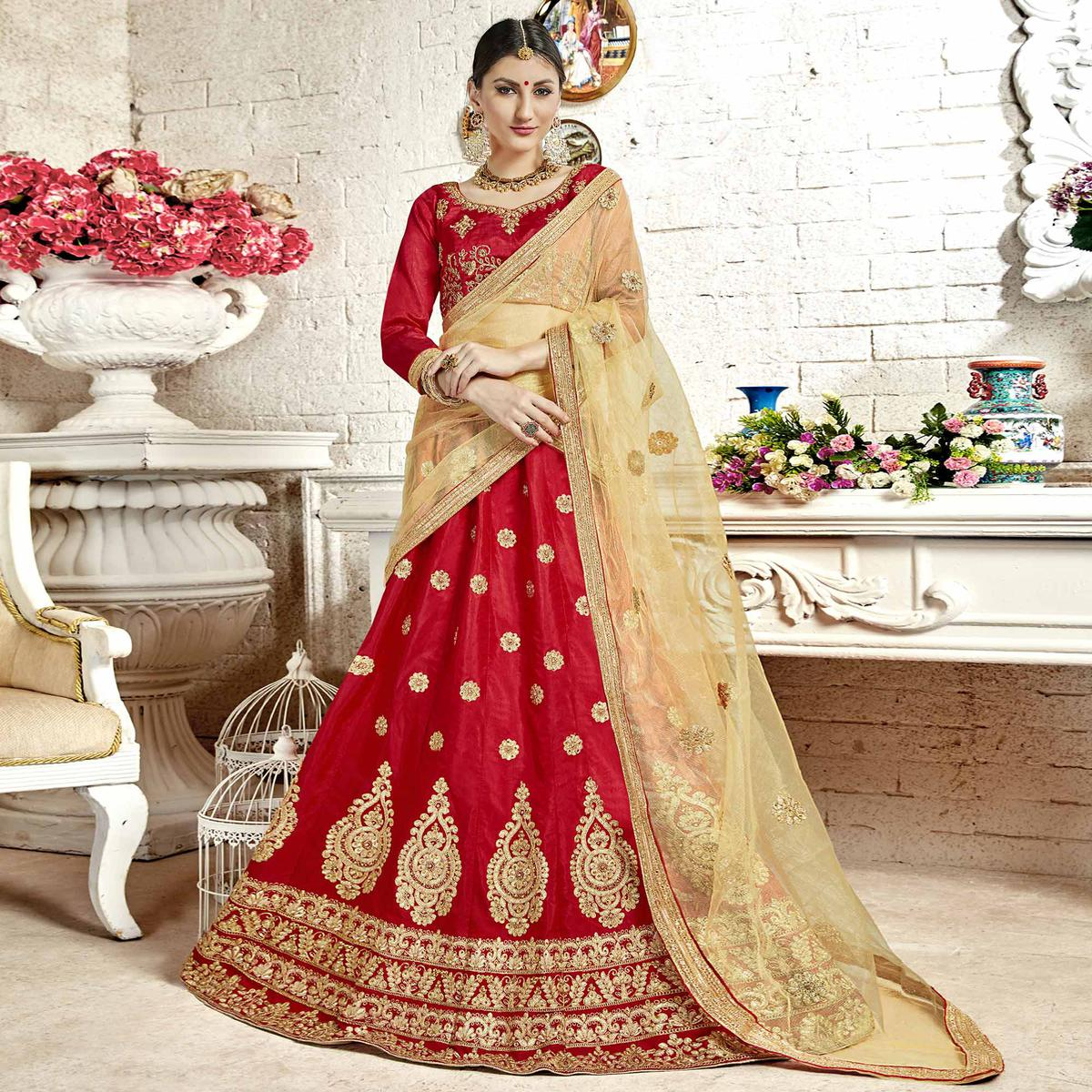 Sophisticated Red Colored Partywear Embroidered Banglori Silk Lehenga Choli