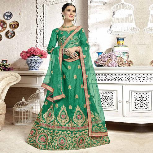 Trendy Turquoise Green Colored Partywear Embroidered Banglori Silk Lehenga Choli