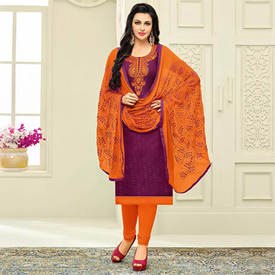 Adorable Purple Designer Embroidered Partywear Jacquard Salwar Suit