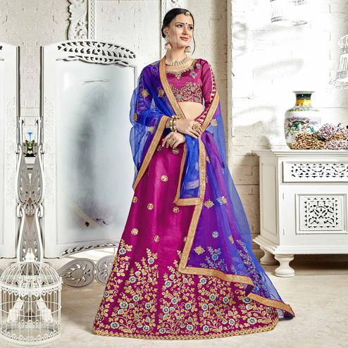 Radiant Violet Colored Partywear Embroidered Banglori Silk Lehenga Choli