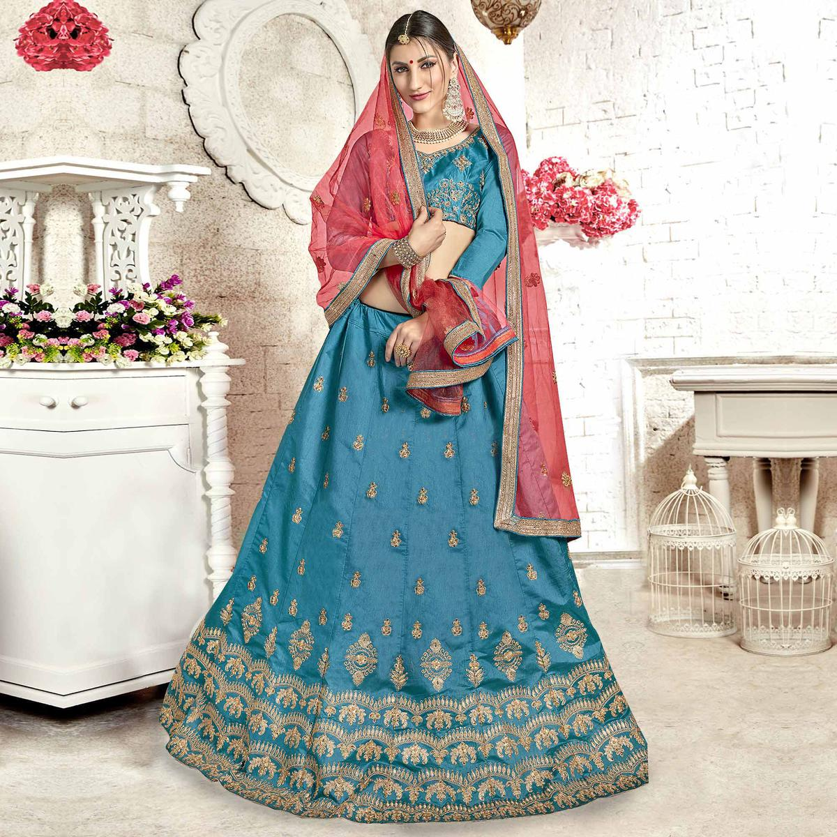 Opulent Blue Colored Partywear Embroidered Banglori Silk Lehenga Choli