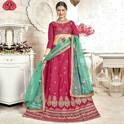Energetic Pink Colored Partywear Embroidered Banglori Silk Lehenga Choli