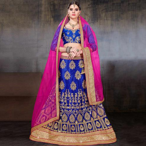Exceptional Royal Blue Colored Wedding Wear Embroidered Net Lehenga Choli