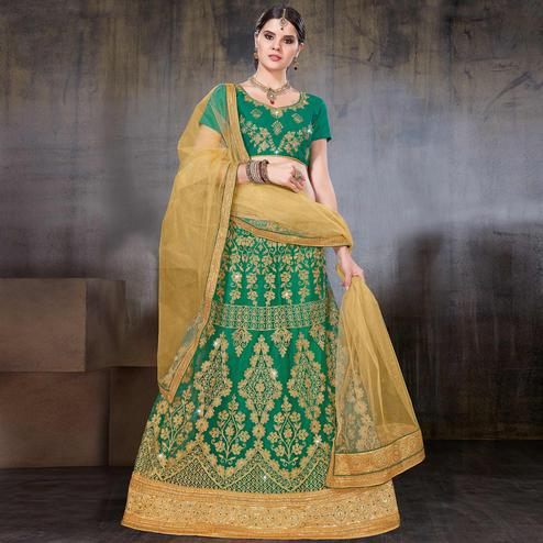 Mesmeric Green Colored Wedding Wear Embroidered Net Lehenga Choli