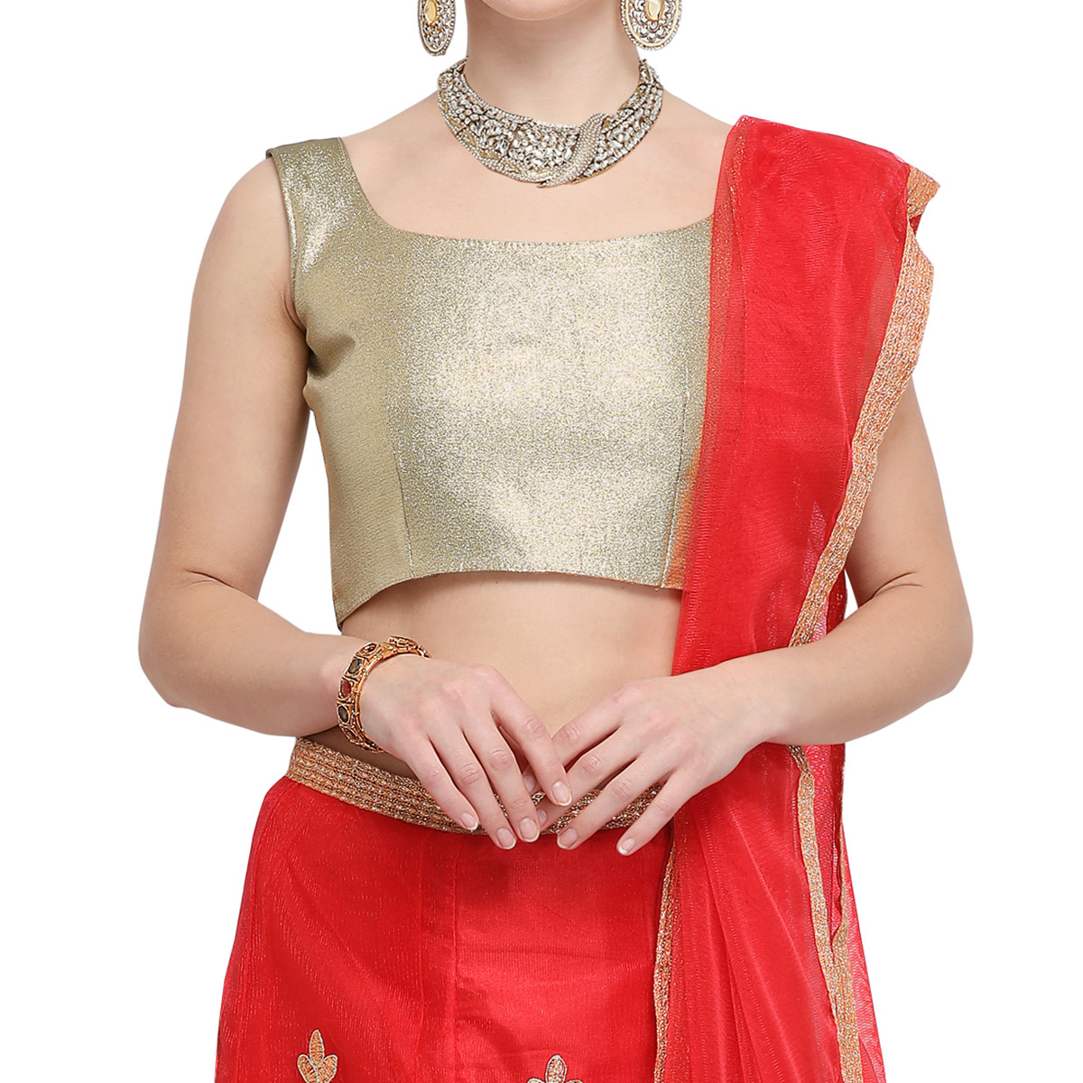 Amazing Red Colored Party Wear Embroidered Net Lehenga Choli