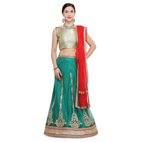 Attractive Turquoise Green Colored Party Wear Embroidered Net Lehenga Choli