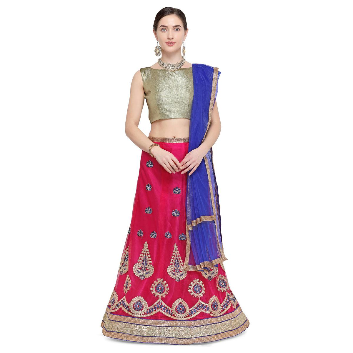 Beautiful Dark Pink Colored Party Wear Embroidered Net Lehenga Choli