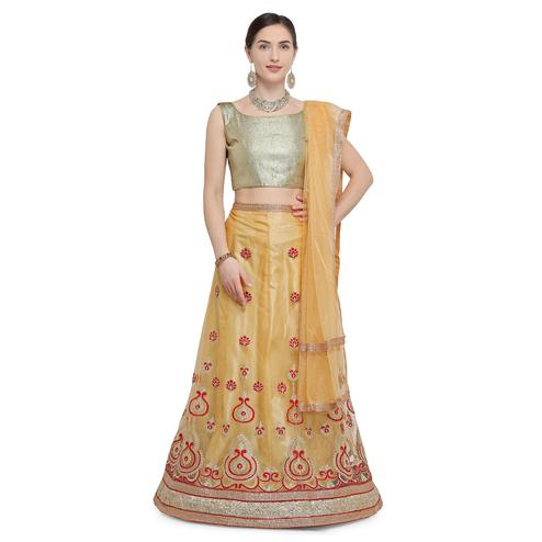 Blissful Golden Yellow Colored Party Wear Embroidered Net Lehenga Choli