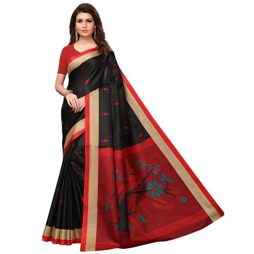 Ideal Black Colored Festive Wear Printed Khadi Saree