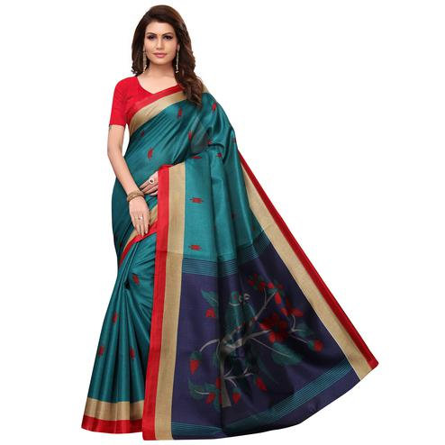 Imposing Teal Blue Colored Festive Wear Printed Khadi Saree