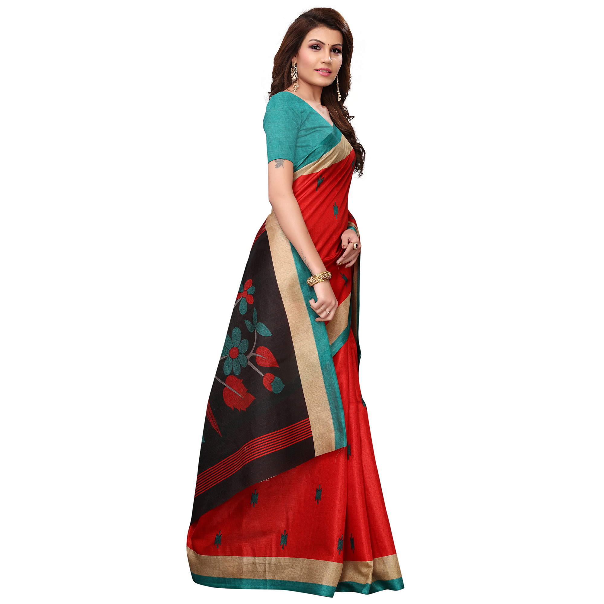 Lovely Red Colored Festive Wear Printed Khadi Saree