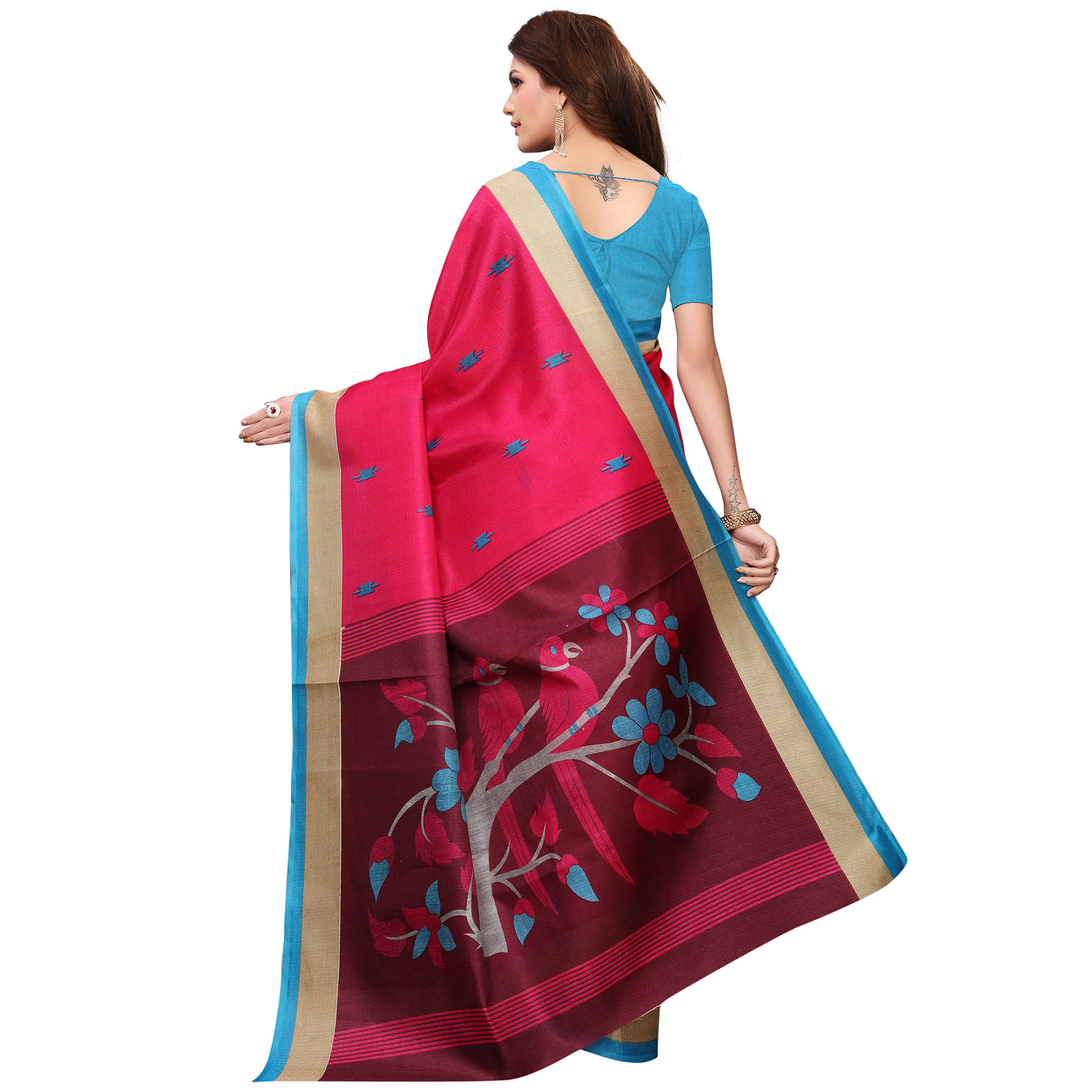 Majesty Deep Pink Colored Festive Wear Printed Khadi Saree