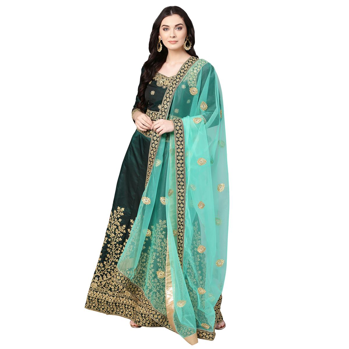 Jazzy Dark Green Colored Party Wear Embroidered Silk Lehenga Choli