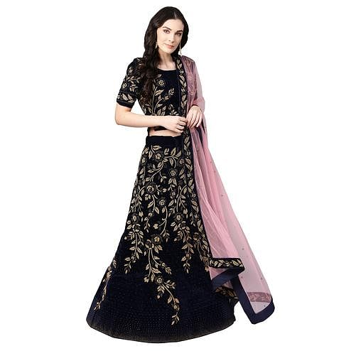 Adorning Navy Blue Colored Party Wear Embroidered Silk Lehenga Choli