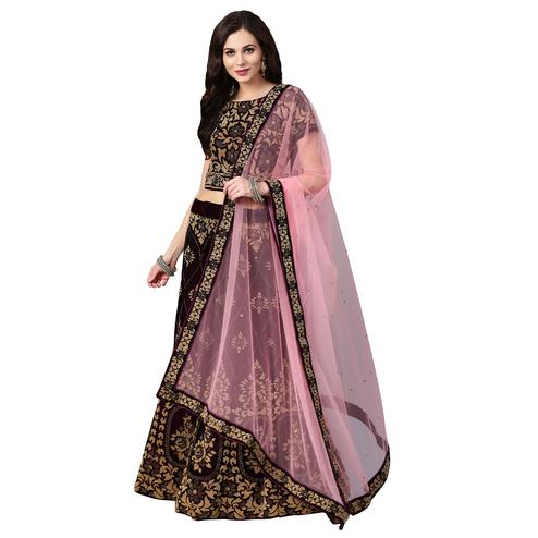 Captivating Wine Colored Party Wear Embroidered Silk Lehenga Choli