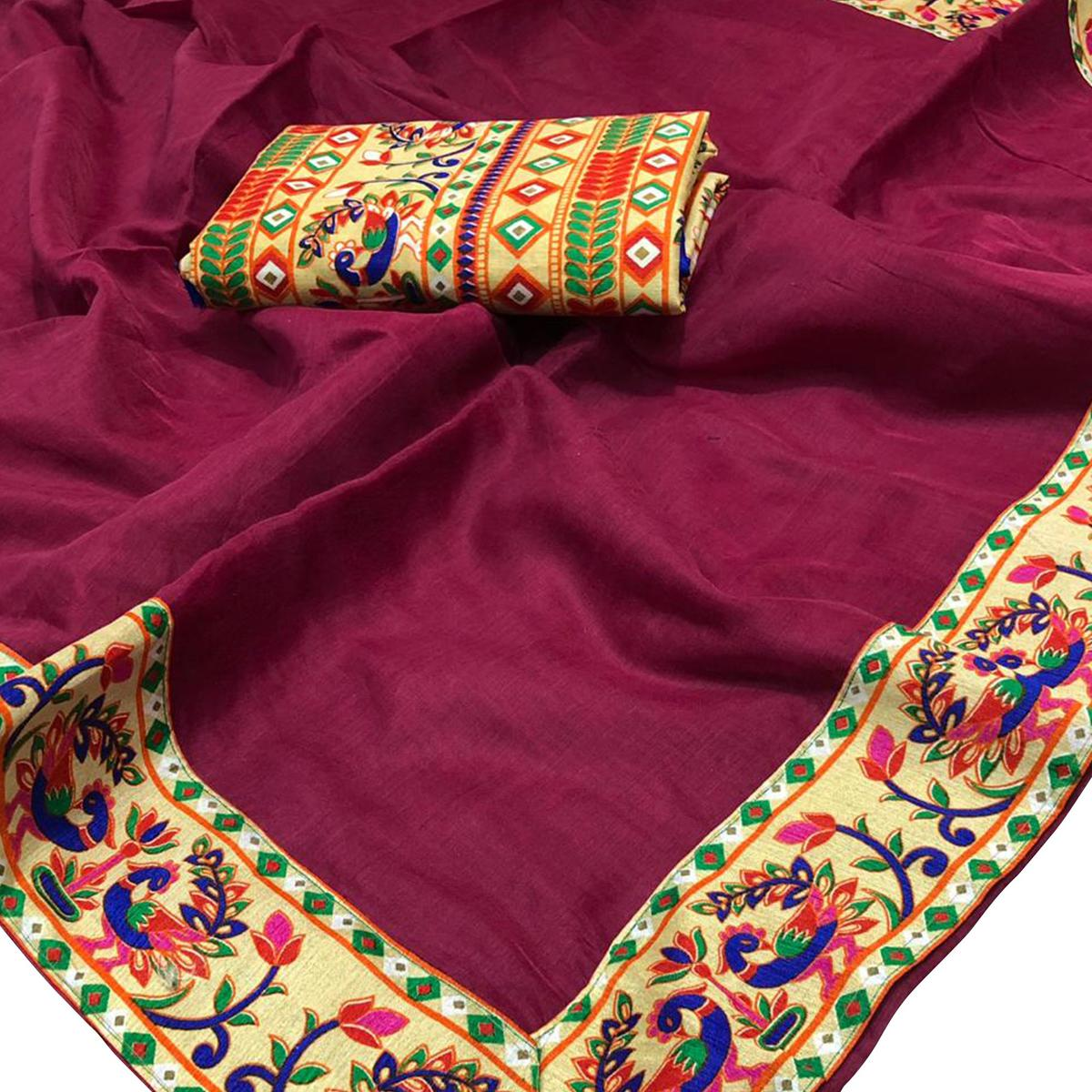 Charming Deep Magenta Colored Lace Bordered Chanderi Silk Saree