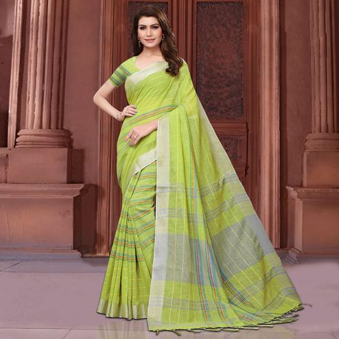 Adorable Lemon Green Colored Festive Wear Linen Saree