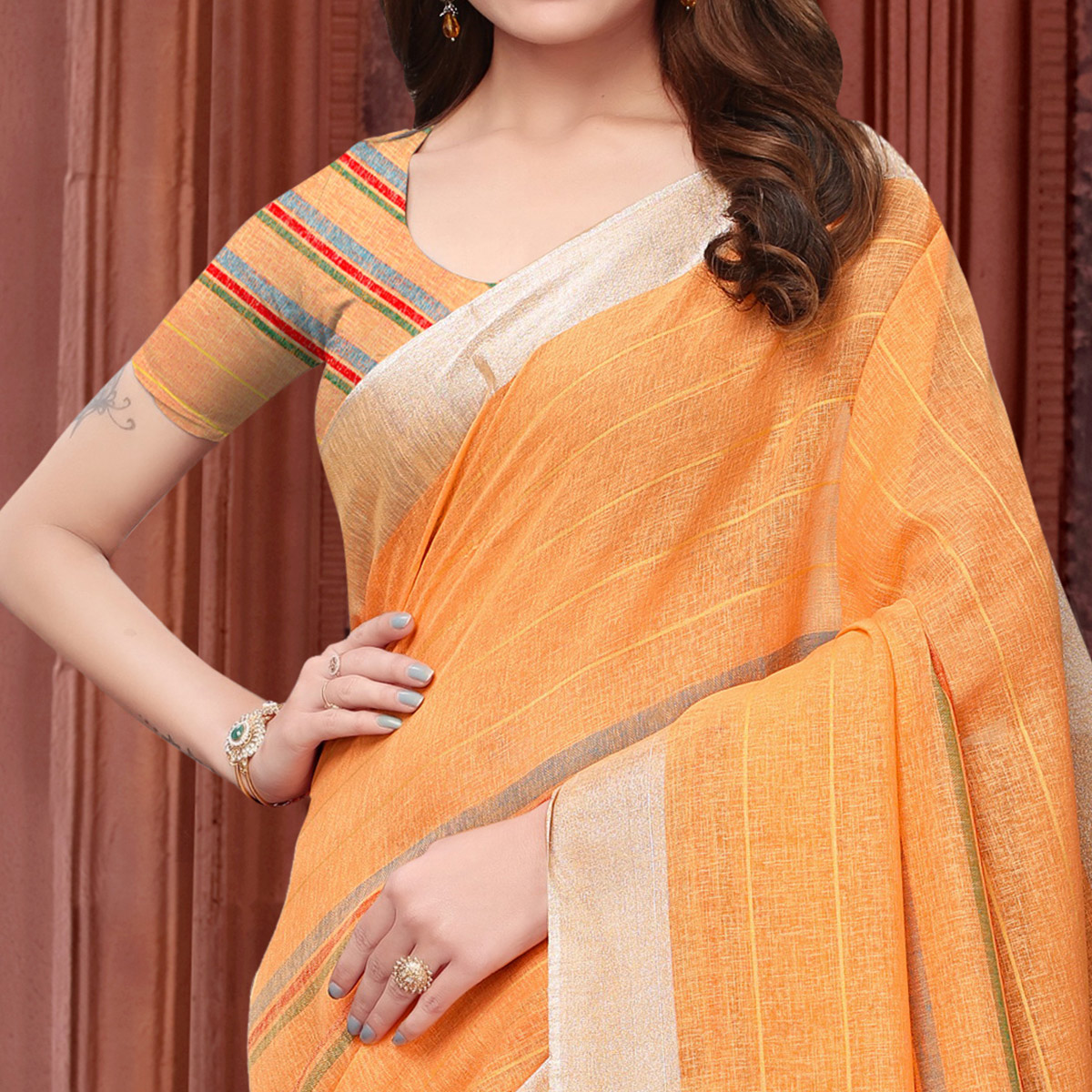Amazing Orange Colored Festive Wear Linen Saree