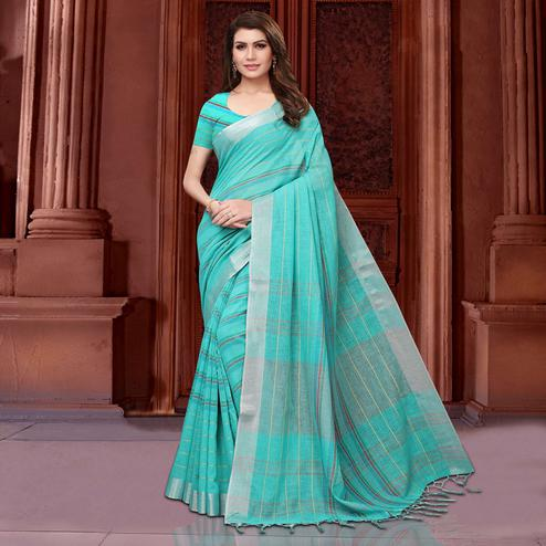 Attractive Aqua Blue Colored Festive Wear Linen Saree