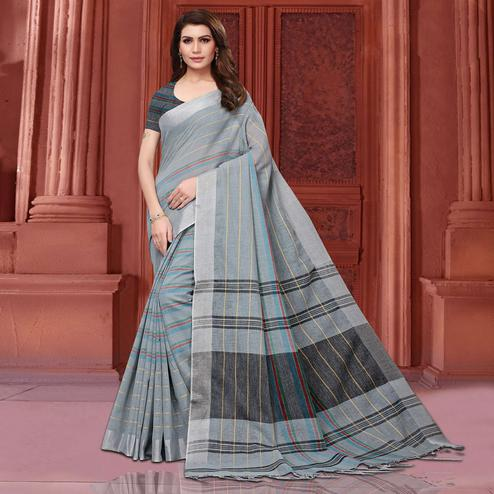 Blissful Gray Colored Festive Wear Linen Saree