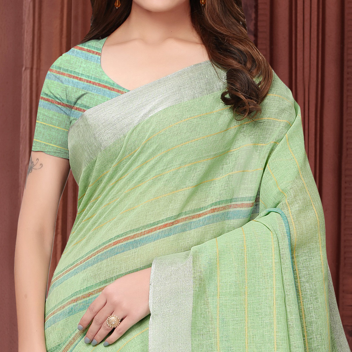 Charming Pastel Green Colored Festive Wear Linen Saree