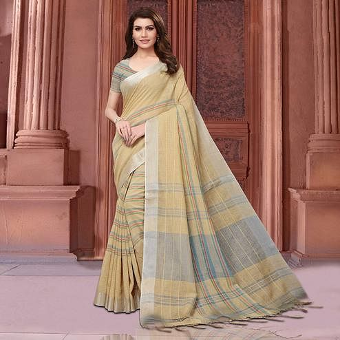 Classy Pastel Brown Colored Festive Wear Linen Saree