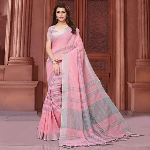 Delightful Pink Colored Festive Wear Linen Saree