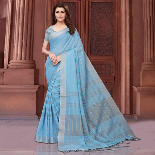 Engrossing Blue Colored Festive Wear Linen Saree