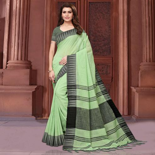 Eye-catching Light Green Colored Festive Wear Linen Saree