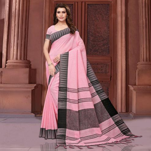 Fantastic Pink Colored Festive Wear Linen Saree