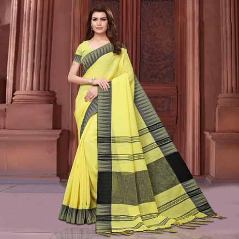 Gorgeous Yellow Colored Festive Wear Linen Saree