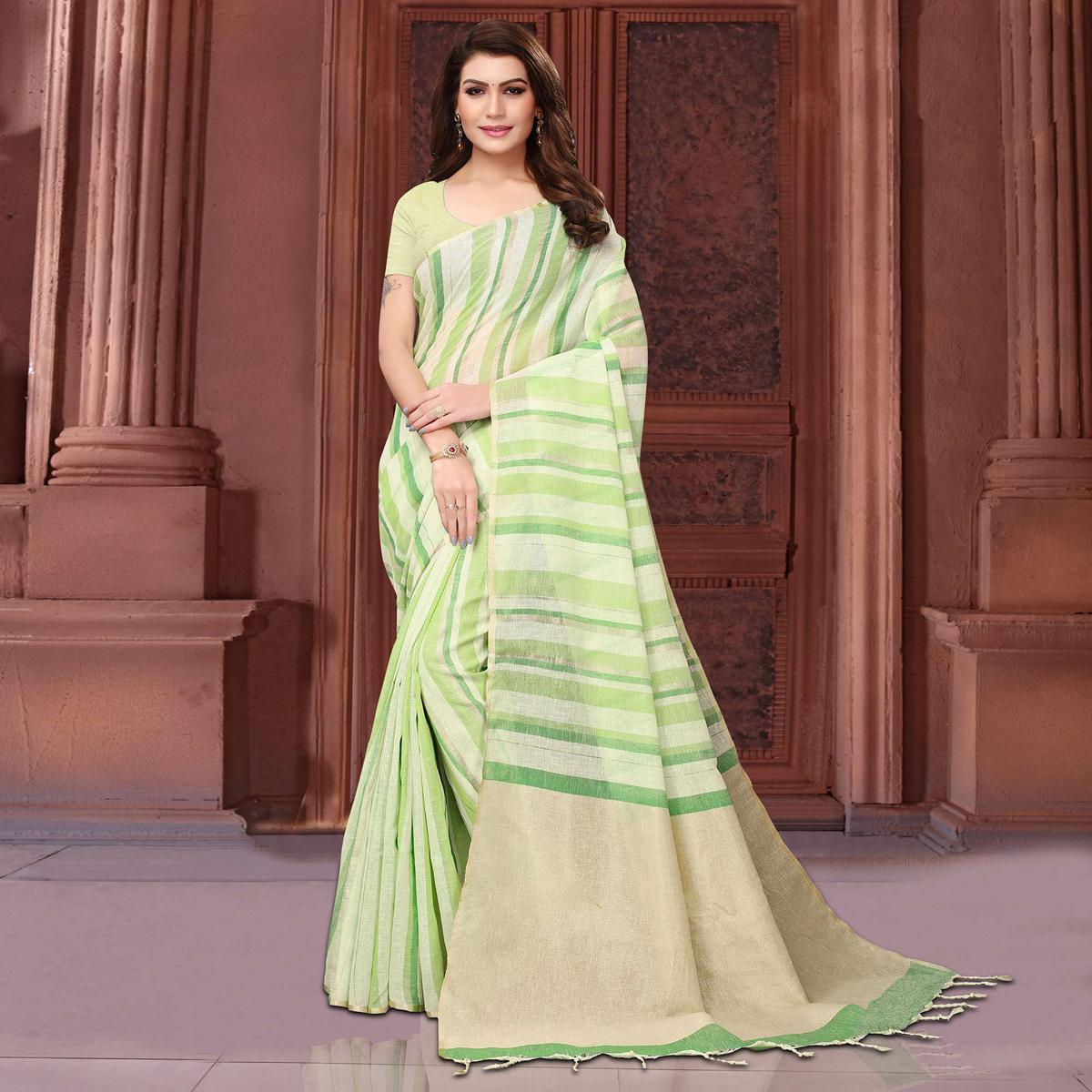 Lovely Green Colored Festive Wear Linen Saree