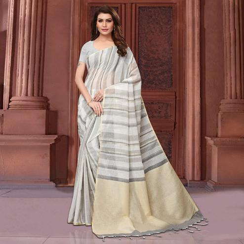 Majesty Gray Colored Festive Wear Linen Saree