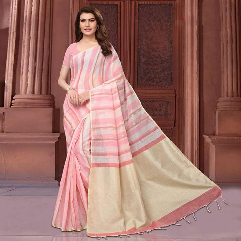 Marvellous Pink Colored Festive Wear Linen Saree