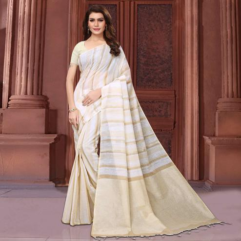 Radiant White Colored Festive Wear Linen Saree