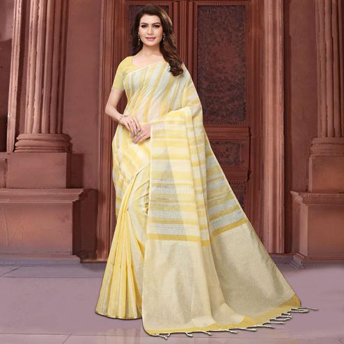 Gleaming Yellow Colored Festive Wear Linen Saree