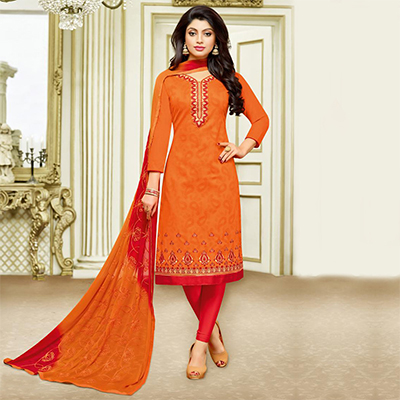 Flamboyant Orange Designer Embroidered Partywear Jacquard Salwar Suit