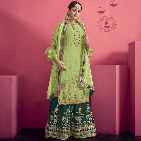 Glowing Pista Green Colored Party Wear Embroidered Georgette Palazzo Suit