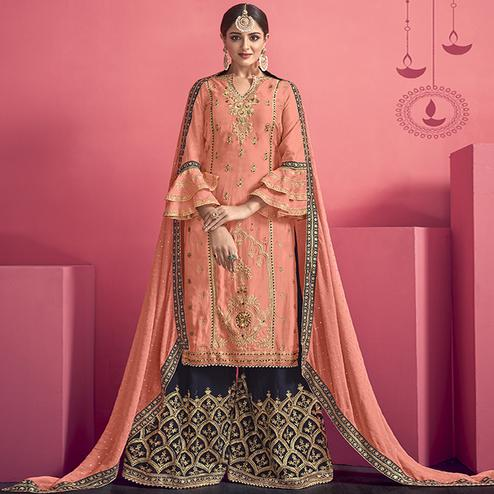 Exceptional Peach Colored Party Wear Embroidered Georgette Palazzo Suit