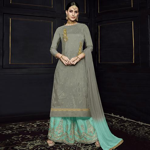 Adorning Grey Colored Party Wear Embroidered Viscose Palazzo Suit